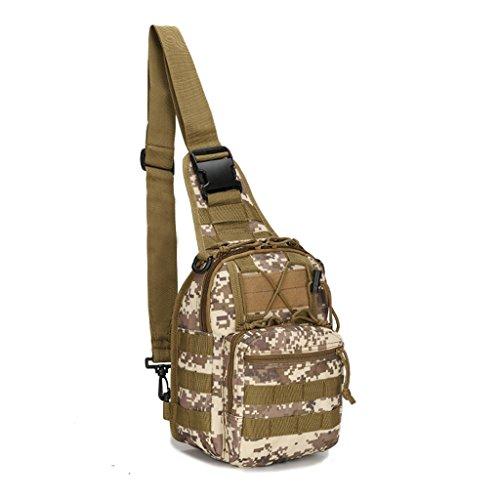 Mcdobexy Leichte Tactical Sling Rucksack Militär Schultertasche Umhängetasche EDC Brusttasche für Outdoor Sport Camping Wandern Desert Digital