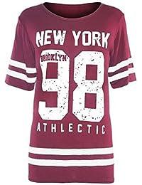 Janisramone Señoras Mujeres Nueva Beisbol New york 98 brooklyn raya impresión sobredimensionado baggy tapa de la camiseta