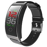 AIBOTY Smart Armband, Farbbildschirm Blutsauerstoff Blutdruckmesser Schritt Fitness Tracker, Für Android Und Ios,Black