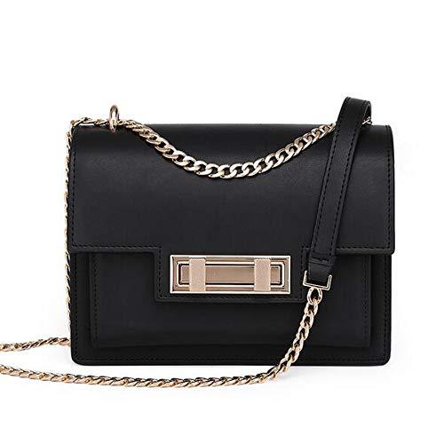 Rucksack Bag New-handtaschen (LJ New Chain Bag Messenger Bag Leather Lock Kleine Quadratische Tasche Lederhandtasche Wilder Joker (Farbe : Black))