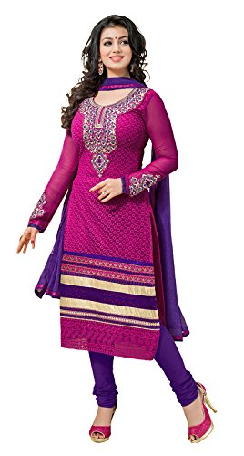 Khushali WomenGeorgette Karachi Unstitched Salwar Suit Dress Material (Rani)  available at amazon for Rs.1273