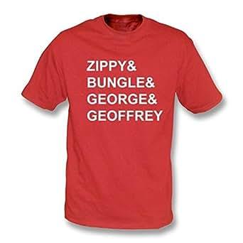 TshirtGrill Rainbow Zippy & Bungle & George & Geoffrey T-shirt Small, Color Red