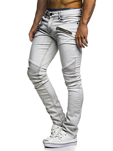LEIF NELSON Herren Hose Jeans Jeanshose Freizeithose Denim LN273H; W32L32, Weiss