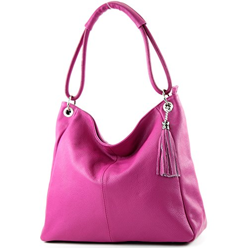 modamoda de - T165 - ital Schultertasche Groß Shopper Leder, Farbe:Pink -