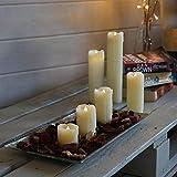 Lot 6 Bougies LED en Cire Véritable Type Pilier Éclairage Blanc Chaud Effet Vacillant Ultra Réaliste (Piles Incluses)