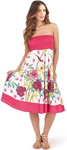 donna 100% cotone con rose 2 in 1 fascia vestito estivo/Gonna Maxi, Rosa Rosa