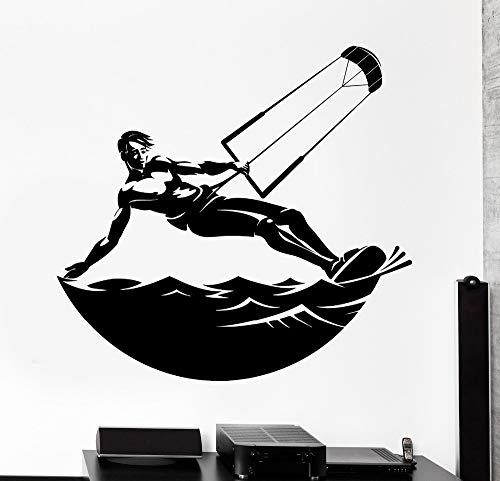 zzlfn3lv Sticker Mural Sac de Sport Kitesurf Surf Planche à Voile Sticker Vinyl Sport Nautique 1 57x71 cm