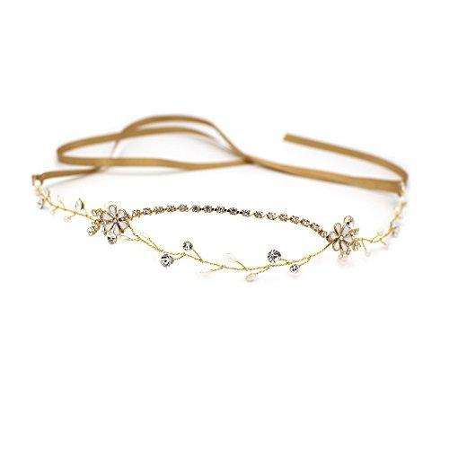Elegantes Göttin gold Kristall stirnband oumoutm Braut Hochzeit Süßwasserperle Blume Kopfbedeckung Krone (Die Griechische Oder Die Römische Prinzessin Kostüme)