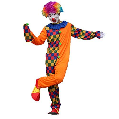Anzug Herren Masquerade (Tinksky Clown Kostüm Erwachsene Herren witzig Clownkostüm mit Hut für Party Halloween Weihnachten Karneval Familien Feier Größe)