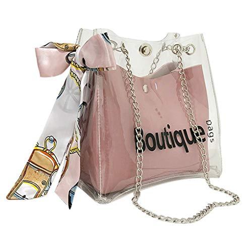 Umhängetasche Damen,UFODB Frauen Transparent Brief Schal Gelee Shopping Bag Handbag Handtasche Henkeltasche Chic Schultertasche Große Tasche