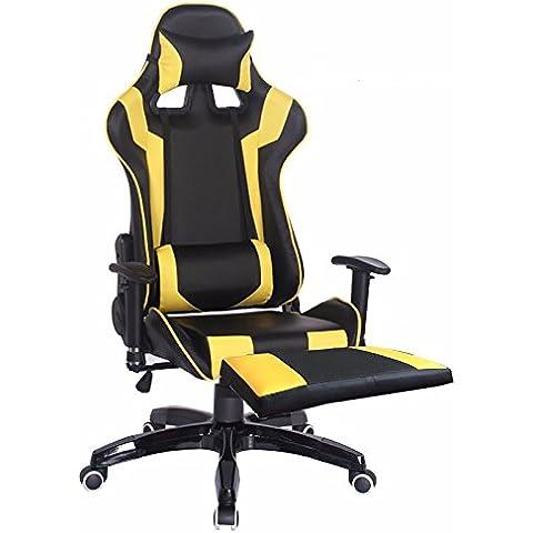 Sdraio Sedie bar sedia sedia computer home sedie,Giallo e poggiapiedi nero,piedini in nylon