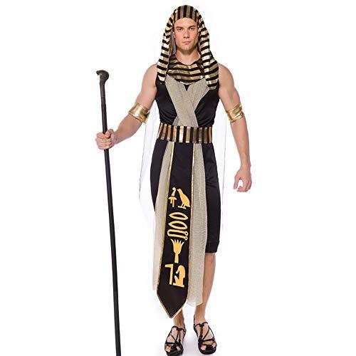 Kostüm Dame Hunde Alte - Herren Halloween Kostüm Erwachsene Unisex Karneval Fasching Ägyptisches Kostüm des Alten Ägyptischen Königs Pharao,Gold,M