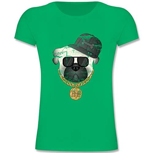 Tiermotive Kind - Bad Boy Mops Vintage - 116 (5-6 Jahre) - Grün - F131K - Mädchen Kinder T-Shirt