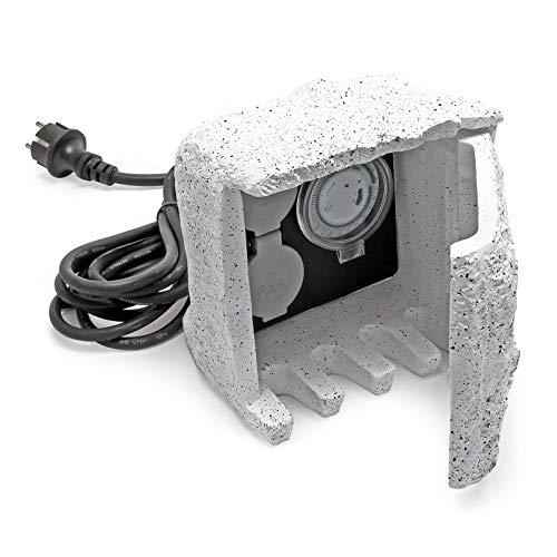 2-fach Gartensteckdose Außensteckdose Kunstharz Zeitschaltuhr IP44 Outdoor Steinoptik 1.5m Kabel