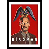 Tallenge - Birdman or (The Unexpected Virtue of Ignorance) - Hollywood Movie Graphic Poster - Medium Framed Poster (Paper,18 x 24  inches, Multicolour)
