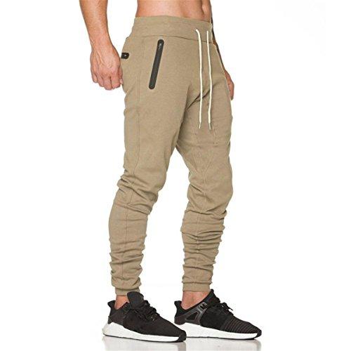 HET Herren Mode Lässige Hosen Jogger Dance Reine Farbe Regular-Fit Jogger Cargo Designer Sportwear Baggy Harem Hosen Hosen Jogginghose Jogging/Fitness/Workout (XXL, Khaki)