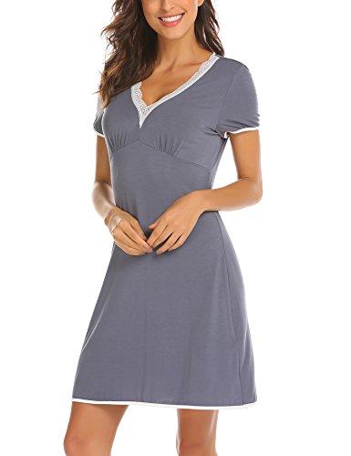 UNibelle Damen Nachthemd Kleid Nachtwäsche Negligees Kurzarm Mit Spitzenbesatz, Typ2_Grau, M