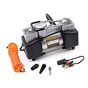Automaze Heavy Duty Metal Electric Car Air Compressor Pump Portable Tire Tyre Inflator,Cooper Winding, 12V Dc, 150Psi…