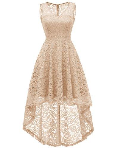 Dresstells Damen elegant Spitzenkleid V-Ausschnitt Unregelmässig Vokuhila Cocktail Partykleid...