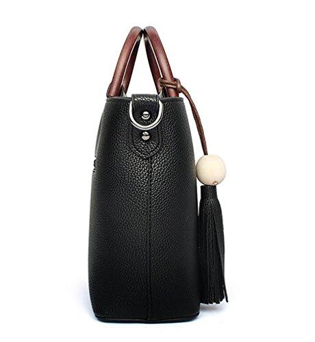 WanYang Donna Borsa Handbag A Spalla Righe In PU Cuoio Cerniera Design Handbag Shoulder Bag Tote Bag Nero