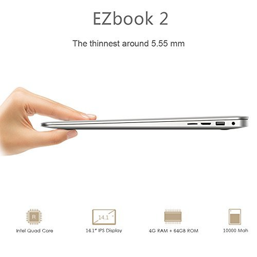 Jumper EZBook 2 Notebook - Windows 10, 14 pollici Full HD LED Display, 64GB Memoria Interna, Intel Cherry Trail X5 Z8350 CPU, 4GB di RAM, 10000mAh, 1.4 Kg