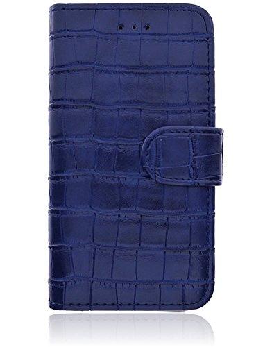 Apple iPhone 8 / iPhone 7 Hülle | Handyhülle | Tasche | Handytasche | Schutzhülle | Book Case | Cover Etui mit bruchfester Innenschale | Kartenfach | Standfunktion | Croco Look (Blau) Blau