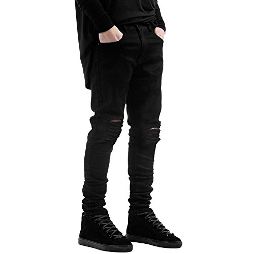 LAEMILIA Männer Slim Fit Schwarz Stretch Destroyed Jeanshose Denim Jeans Hose (EU L, Schwarz)