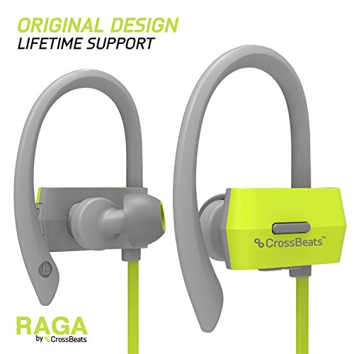 CrossBeatsTM Raga Wireless Bluetooth Headset Headphones ,Grey-Green