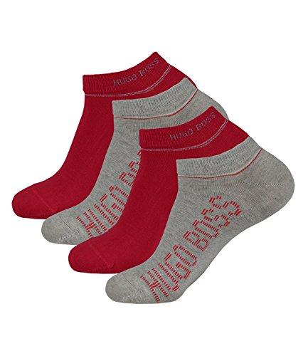 BOSS HUGO Herren Sneaker Socken Kurzsocken AS Design 50308112 4 Paar, Größe:43-46, Artikel:-042 silver grey/red