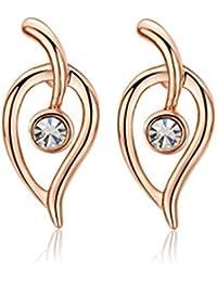 Lily joyas dorados Mode Alta Calidad brille la hoja de los pendientes de cristal austriaco