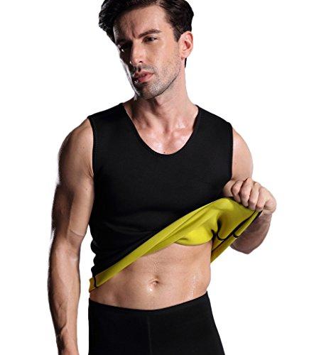 Valentina Herren Hot Sweat Body Shaper Weste bauch Fat Burner Slimming Sauna Tank Top Gewicht Verlust-Schwarz kein Reißverschluss, Herren, schwarz - Top Fat Burner