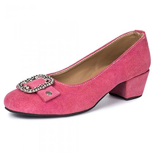PAULGOS Damen Trachtenschuhe Dirndl Schuhe Trachten Pumps Echtes Leder Pink Gr. 36-44, Schuhgröße:37, Farbe:Pink