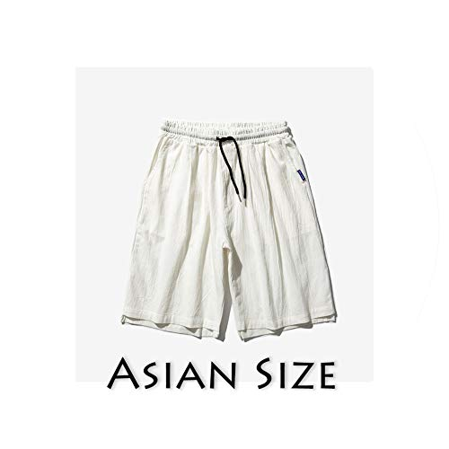 Men Oversize Streetwear Harajuku Shorts Solid Mens Chinese Style Board Shorts Casual Knee Length,White(Asian Size),XXL -
