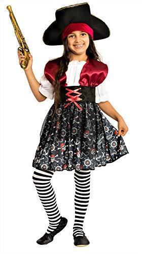 Magicoo Meeresprinzessin - Piratenkostüm Kinder Mädchen - Kostüm Piratin inkl. Piratenkleid & Hut (122/128)