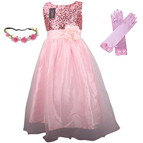 Hochzeit Kleid für Kinder Mädchen mit Handschuhen und Haarband - Tyidalin Festlich Pailleten Tüll Abendkleid Party Prinzessin Kleider Blumenmädchen, Pink, (Schleife Handschuhe Prinzessin Mit)