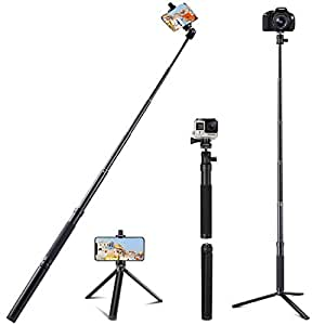 Eocean Selfie Stick Tripod, 46 Inch Selfie Stick for Cellphone with iOS and Android System, Compatible with iPhone/Samsung/Google/GoPro Hero Fusion/6/5/Compact Cameras, Gopro Adapter Included