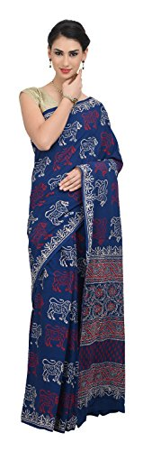 THE WEAVE TRAVELLER Handloom Hand Block Lion Printed Indigo Women's Cotton Saree...