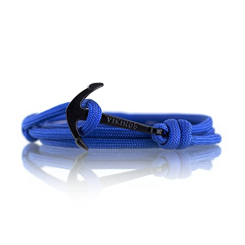 Vikings Anker-Armband Nylon in 13 Farben Anker Schwarz 3478 (Blau)