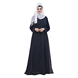 Navy Blue Polka Dot Georgette Double layered Designer Abaya Dress (XX-Large)