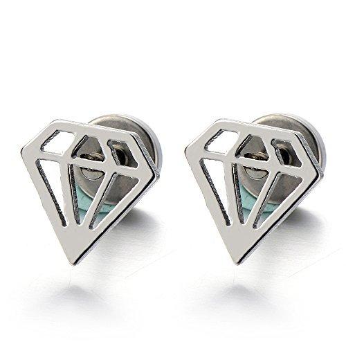 Forma de Diamante, Pendientes de Hombres de Mujer, Acero Inoxidable, 2 Piezas
