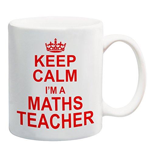 Keep Calm soy profesora de matemáticas rojo taza regalo