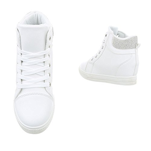 Ital-Design Scarpe da Donna Sneaker Zeppa Sneakers High bianco N-7