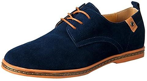 iLoveSIA Men's Leather Suede Oxford Shoes Desert Shoe UK Size 6 Blue (41)