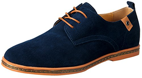 iLoveSIA Men's Leather Suede Oxford Shoes UK Size 8 Blue (44)