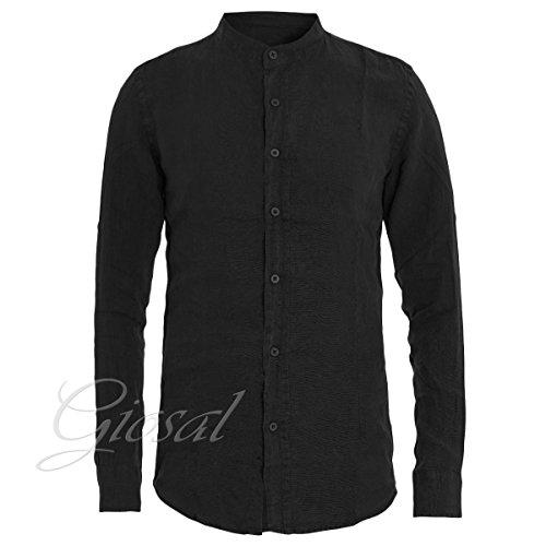 Giosal camicia uomo collo coreano tinta unita nera lino maniche lunghe casual nero-l