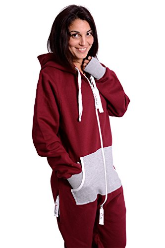 The Classic Unisex Onesie in Burgundy and Fire Ash Grey - L - 3