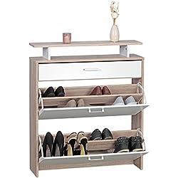 Wohnling Schuhschrank MDF Sonoma Eiche 80 cm Schuhregal Schuhkipper Design Schuh-Kommode Modern Sideboard Schuhablage Zapatero, Madera, Roble, 80 x 24 x 94 cm