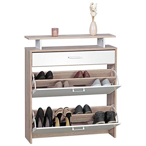FineBuy Schuhkipper FB42994 Holz 80x94x24 cm Modern Sonoma Eiche | Design Schuhregal Schuhkipper Schmal | Schuhschrank Schuhaufbewahrung mit Schublade | Flurschrank Schuhablage Regal