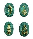Humunize forma ovale Reiki Guarigione cristallo Karuna USUI Set di simboli di 4 pezzi Malachite Pietra Bilanciamento Meditazione Home Decor Tavolo