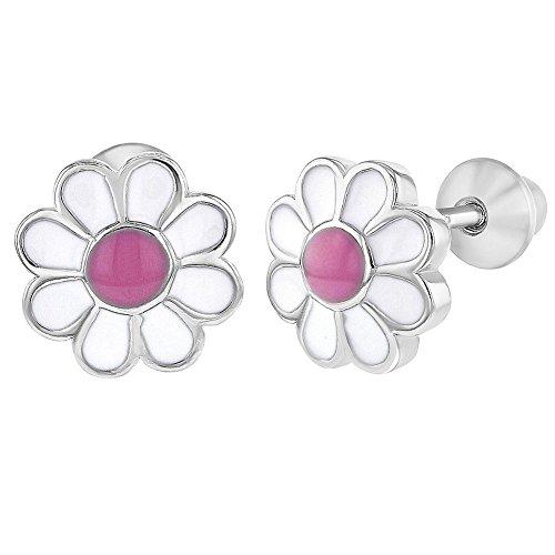 by Mädchen - Schraubverschluss Ohrringe Emaille Gänseblümchen Blume 925 Sterling Silber Rosa ()